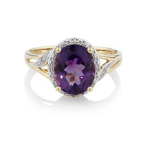 Online Exclusive - Ring with Amethyst & Diamonds in 10kt Yellow & White Gold