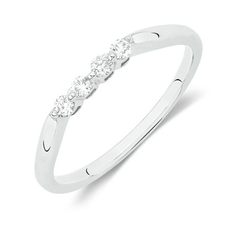 Online Exclusive - Wedding Band with 1/8 Carat TW of Diamonds in 10kt White Gold