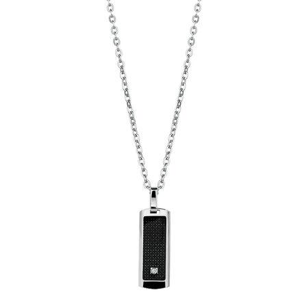Men's Diamond Set Pendant in Black Carbon Fibre & Stainless Steel