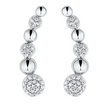 Ear Climbers with 1/6 Carat TW of Diamonds in Sterling Silver