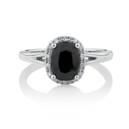 Ring with 1/15 Carat TW of Diamonds & Natural Black Sapphire in 10kt White Gold