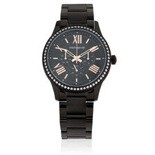 Ladies Watch with Cubic Zirconia in Rose Tone & Black PVD Plated Stainless Steel