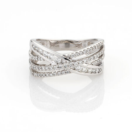 Online Exclusive - Crossover Ring with 1/2 Carat TW of Diamonds in 10kt White Gold