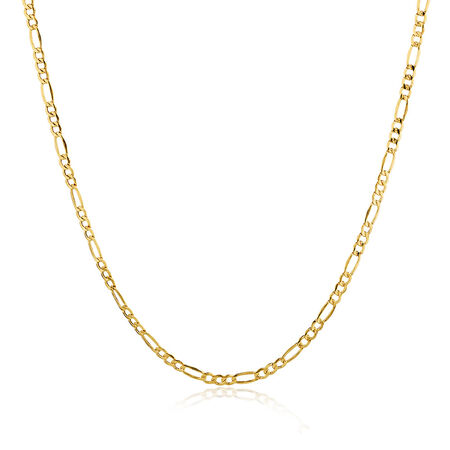 """50cm (20"""") Figaro Chain in 10kt Yellow Gold"""