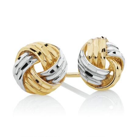 Stud Earrings in 10kt Yellow & White Gold