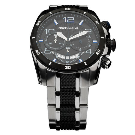 Men's Chronograph Watch in Black & Silver Stainless Steel