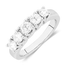 Wedding Band with 1 Carat TW of Diamonds in 14kt White Gold