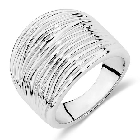 Wide Patterned Ring in Sterling Silver