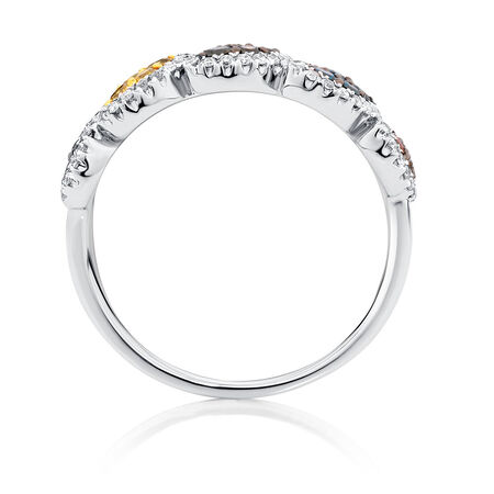 Online Exclusive - City Lights Ring with 1/2 Carat TW of Enhanced Multi-Coloured Diamonds in 10kt White Gold