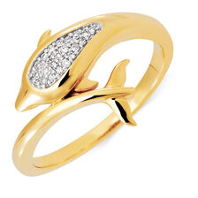 Dolphin Ring with 1/20 Carat TW of Diamonds in 10kt Yellow Gold