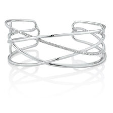 Crossover Cuff with 1/15 Carat TW of Diamonds in Sterling Silver