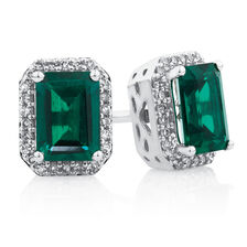 Earrings with Created Emerald & 1/6 Carat TW of Diamonds in 10kt White Gold