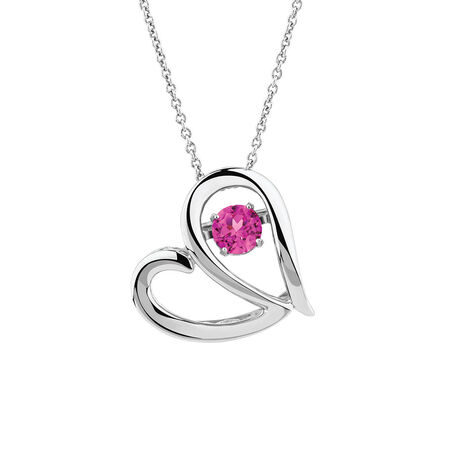 Everlight Heart Pendant with Created Pink Sapphire in Sterling Silver