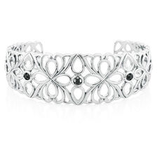 Online Exclusive - City Lights Cuff with 1/15 Carat TW of Enhanced Black Diamonds in Sterling Silver