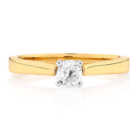 Certified Solitaire Engagement Ring with a 1/2 Carat Diamond in 14kt Yellow & White Gold