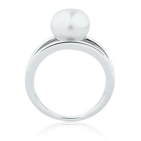 Split Band Ring with a Cultured Freshwater Pearl in Sterling Silver