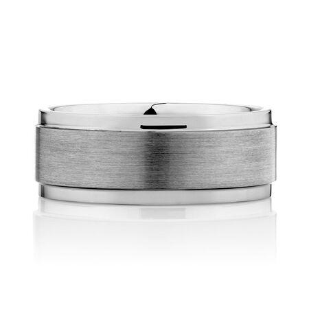 9mm Men's Ring in Gray Tungsten