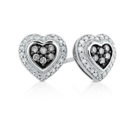 Earrings with 1/3 Carat TW of White & Silvermist Diamonds in Sterling Silver