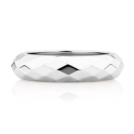 Faceted Dome Ring in Sterling Silver