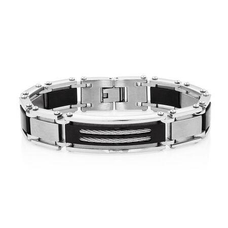 Men's Bracelet in Black PVD Plated Stainless Steel