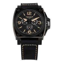 Men's Chronograph Watch in Black Stainless Steel & Leather