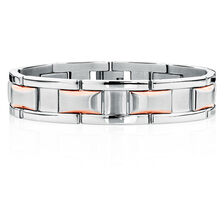 "Men's 21cm (8.5"") Bracelet in Rose Tone & Silver Stainless Steel"