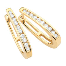 Hoop Earrings with 1/3 Carat TW of Diamonds in 10kt Yellow Gold