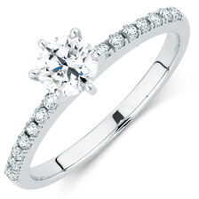 Evermore Colorless Engagement Ring with 0.62 Carat TW of Diamonds in 14kt White Gold