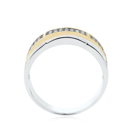 Men's Ring with 3/8 Carat TW of Brown Diamonds in 10kt White & Yellow Gold