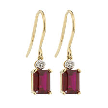 Online Exclusive - Drop Earrings with Diamonds & Created Ruby in 10kt Yellow & White Gold