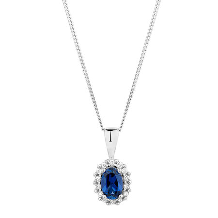 Pendant with Created Sapphire & Diamonds in 10kt White Gold