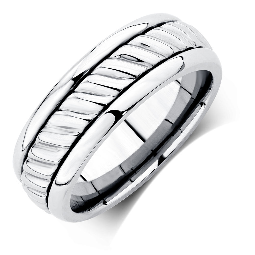 menu0027s patterned ring in stainless steel