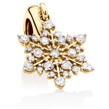 Snowflake Dangle Charm with 1/4 Carat TW of Diamonds in 10kt Yellow Gold