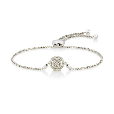 Online Exclusive - Adjustable Circle Bracelet with 0.33 Carat TW of Diamonds in Sterling Silver