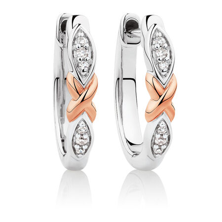 Huggie Earrings with 1/20 Carat TW of Diamonds in Sterling Silver & 10kt Rose Gold