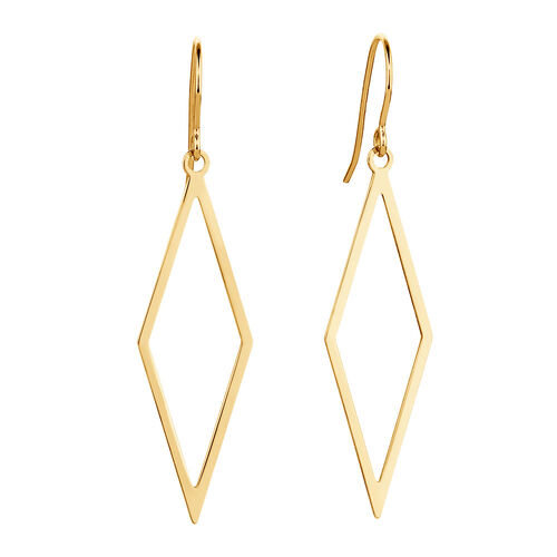 Geometric Drop Earrings in 10kt Yellow Gold