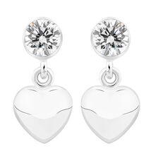 Heart Earrings with Cubic Zirconia in Sterling Silver