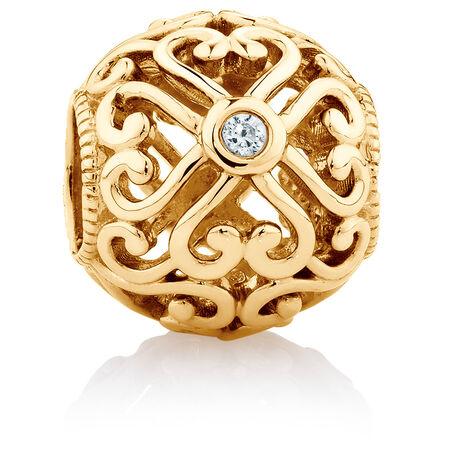 Diamond Set 10kt Yellow Gold Lace Filigree Heart Charm