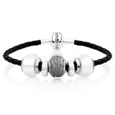 Sterling Silver & Black Leather Charm Bracelet