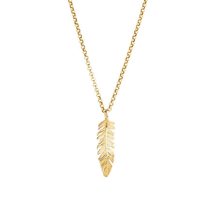 Feather Pendant in 10kt Yellow Gold