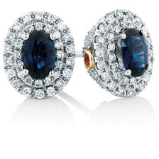 Michael Hill Designer Stud Earrings with Sapphire & 1/2 Carat TW of Diamonds in 14kt White & Rose Gold