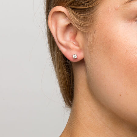 Stud Earrings with 1/3 Carat TW of Diamonds in Sterling Silver