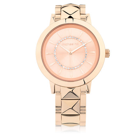 Ladies Watch with Cubic Zirconia in Rose Tone Stainless Steel