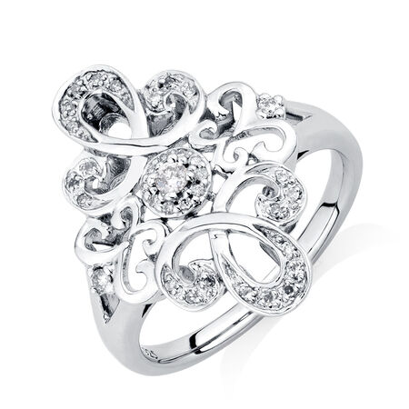 Online Exclusive - Michael Hill Designer Ring with 1/6 Carat TW of Diamonds in Sterling Silver & 10kt Rose Gold