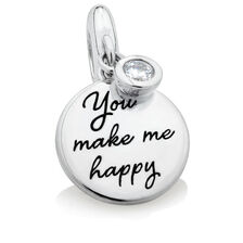 You Make Me Happy...' Charm with Cubic Zirconia in Sterling Silver