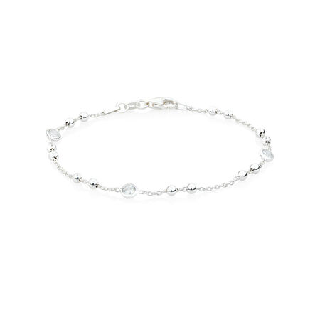 """18cm (7"""") Ball Anklet with Cubic Zirconia in Sterling Silver"""
