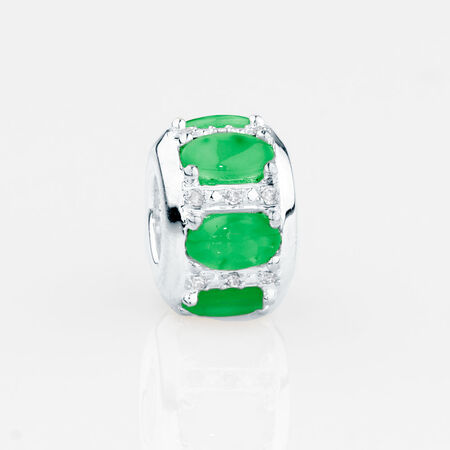 Online Exclusive - Barrel Charm with Green Stone & Diamonds in Sterling Silver
