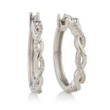 Hoop Earrings with 1/15 Carat TW of Diamonds in Sterling Silver