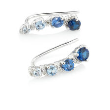 Online Exclusive - Earrings with Diamonds & Created Sapphire in 10kt White Gold