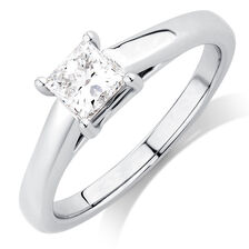 Ideal Cut Solitaire Engagement Ring with a 0.69 Carat Diamond in Platinum